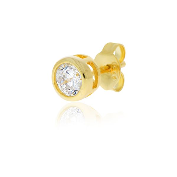 Olivia Sterling Silver Yellow Gold Plated Round Bezel Set Cz Stud Earrings Image 4 Georgies Fine Jewellery Narooma, New South Wales