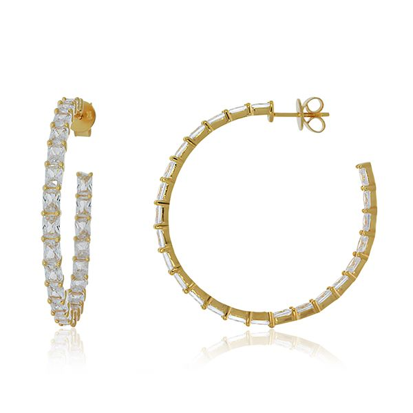 Yellow Gold Plated Baguette Cz Set Inside Out Stud Hoops Georgies Fine Jewellery Narooma, New South Wales