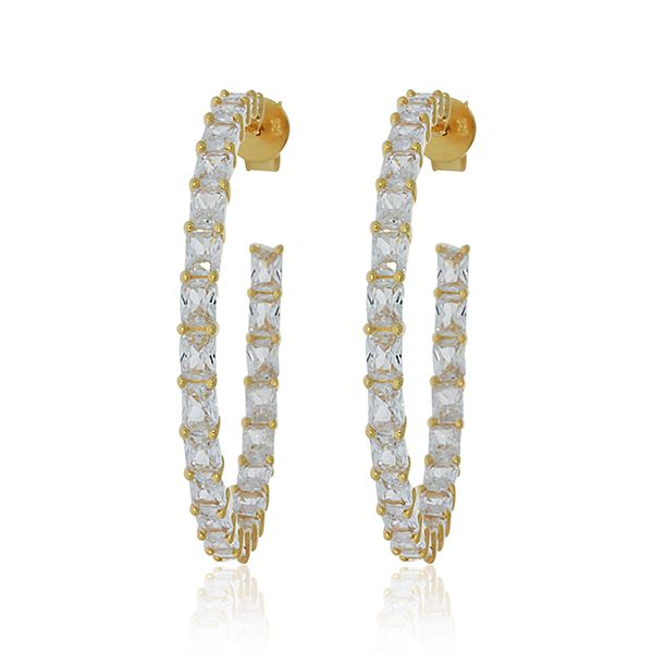 Yellow Gold Plated Baguette Cz Set Inside Out Stud Hoops Image 2 Georgies Fine Jewellery Narooma, New South Wales