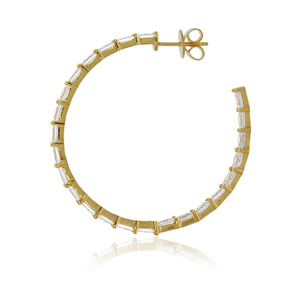 Yellow Gold Plated Baguette Cz Set Inside Out Stud Hoops Image 3 Georgies Fine Jewellery Narooma, New South Wales