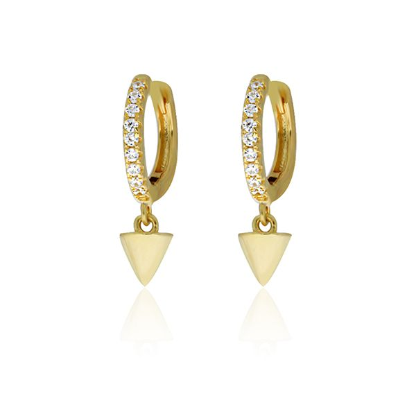 Silver Yellow Plated CZ Mini Spike Drop Earrings Image 2 Georgies Fine Jewellery Narooma, New South Wales
