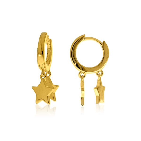 Yellow Gold Plated Huggies With Star Drops Georgies Fine Jewellery Narooma, New South Wales