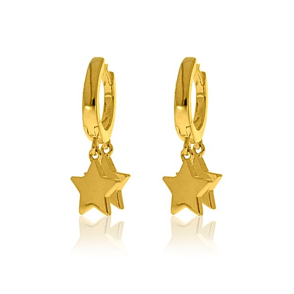 Yellow Gold Plated Huggies With Star Drops Image 2 Georgies Fine Jewellery Narooma, New South Wales