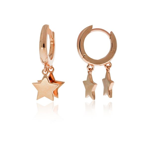 Rose Gold Plated Huggies With Star Drops Georgies Fine Jewellery Narooma, New South Wales