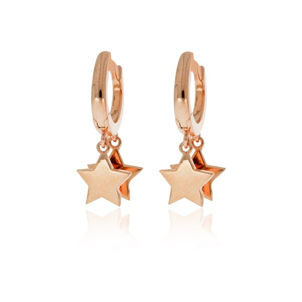 Rose Gold Plated Huggies With Star Drops Image 2 Georgies Fine Jewellery Narooma, New South Wales