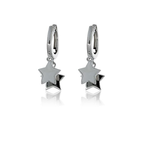 Olivia Sterling Silver Rhodium Plated Huggies With Star Drops Image 2 Georgies Fine Jewellery Narooma, New South Wales