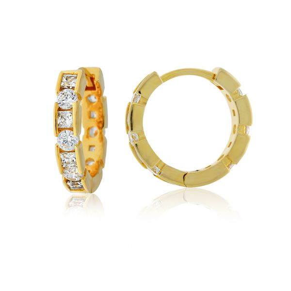 Yellow Gold Plated Round Brilliant And Princess Cut Cz Set Huggiess Georgies Fine Jewellery Narooma, New South Wales