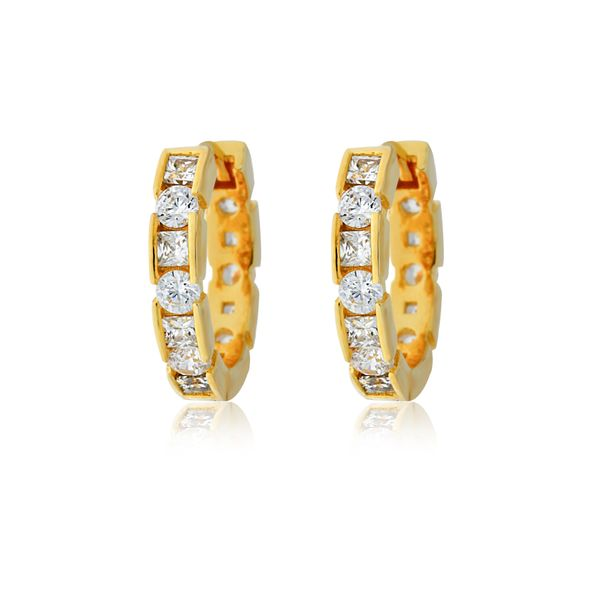 Yellow Gold Plated Round Brilliant And Princess Cut Cz Set Huggiess Image 2 Georgies Fine Jewellery Narooma, New South Wales