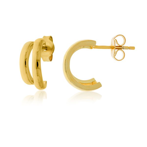 Yellow Gold Plated Stud Split Hoops Georgies Fine Jewellery Narooma, New South Wales