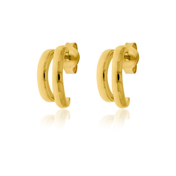 Yellow Gold Plated Stud Split Hoops Image 2 Georgies Fine Jewellery Narooma, New South Wales