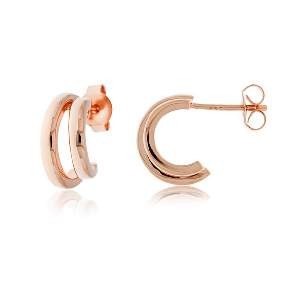 Rose Gold Plated Stud Split Hoops Georgies Fine Jewellery Narooma, New South Wales