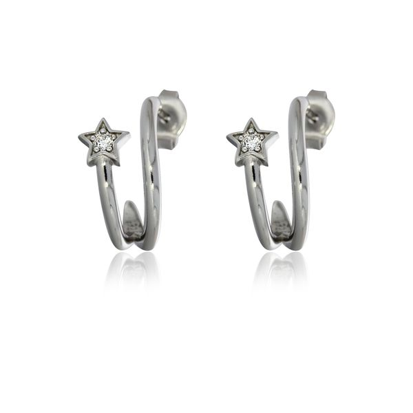 Silver Stud Split Hoops With Cz Set Star Image 2 Georgies Fine Jewellery Narooma, New South Wales