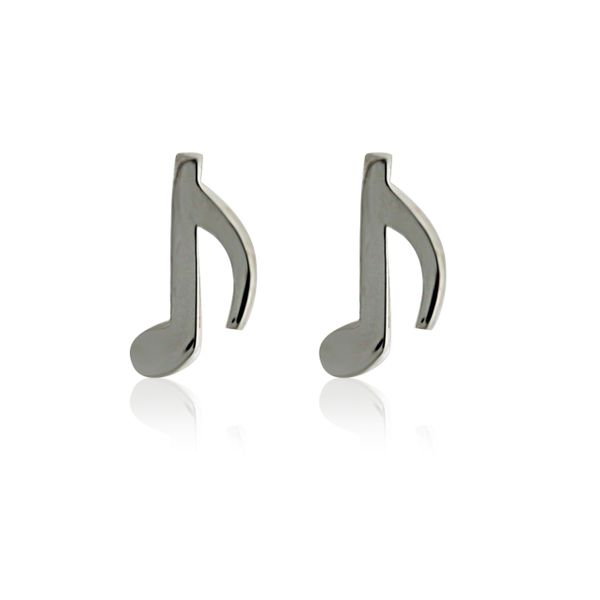 Silver Mismatched Music Notes Stud Earrings Image 2 Georgies Fine Jewellery Narooma, New South Wales