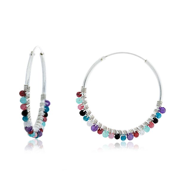 Silver Hoop Earrings With Coloured Beads Georgies Fine Jewellery Narooma, New South Wales