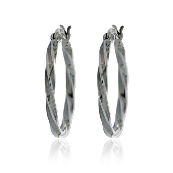 Silver Twist Oval Hoops Image 2 Georgies Fine Jewellery Narooma, New South Wales