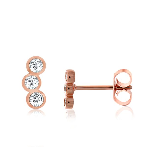 Rose Gold Plated Bezel Set Cz Mini Climber Stud Earrings Georgies Fine Jewellery Narooma, New South Wales