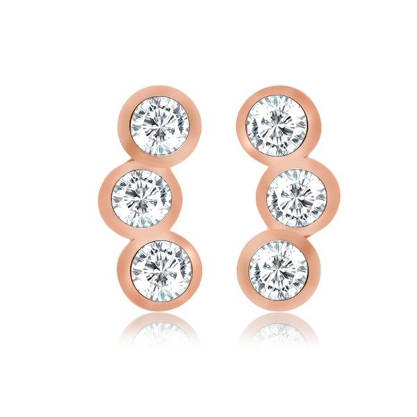 Rose Gold Plated Bezel Set Cz Mini Climber Stud Earrings Image 2 Georgies Fine Jewellery Narooma, New South Wales
