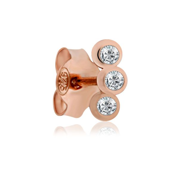 Rose Gold Plated Bezel Set Cz Mini Climber Stud Earrings Image 4 Georgies Fine Jewellery Narooma, New South Wales