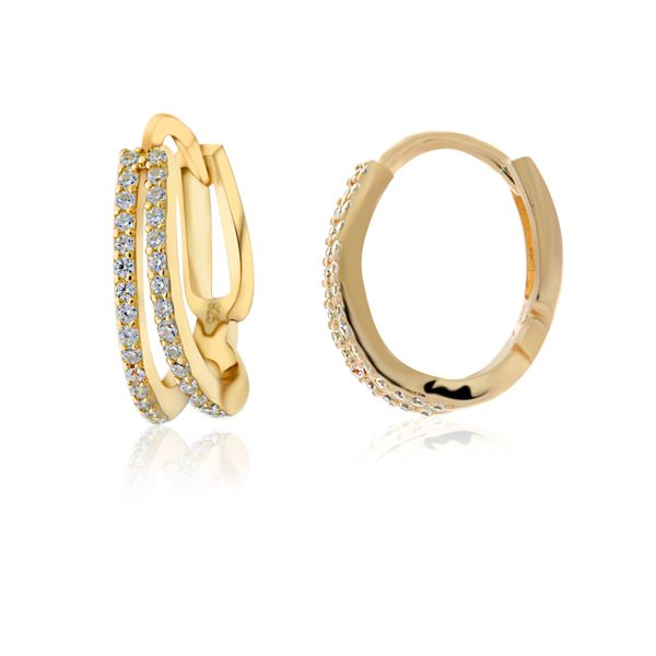 Yellow Gold Plated Split Hoop Cz Set Huggie Earrings Georgies Fine Jewellery Narooma, New South Wales