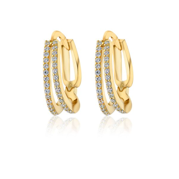 Yellow Gold Plated Split Hoop Cz Set Huggie Earrings Image 2 Georgies Fine Jewellery Narooma, New South Wales