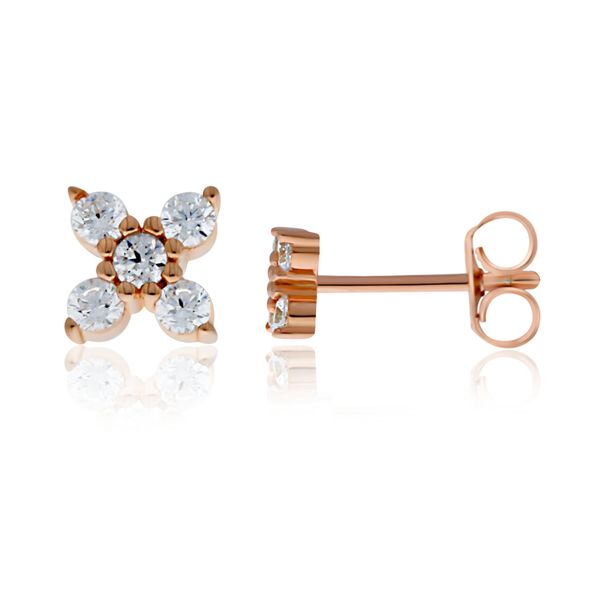 Rose Gold Plated Cz Set 4 Petal Flower Studs Georgies Fine Jewellery Narooma, New South Wales