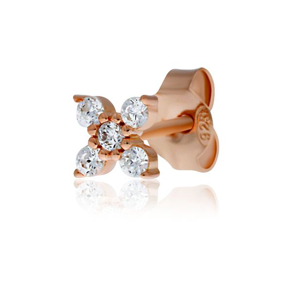 Rose Gold Plated Cz Set 4 Petal Flower Studs Image 3 Georgies Fine Jewellery Narooma, New South Wales