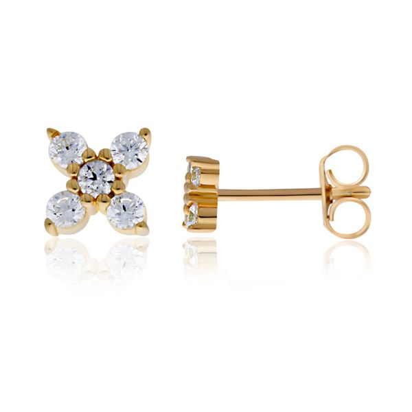 Yellow Gold Plated Cz Set 4 Petal Flower Studs Georgies Fine Jewellery Narooma, New South Wales