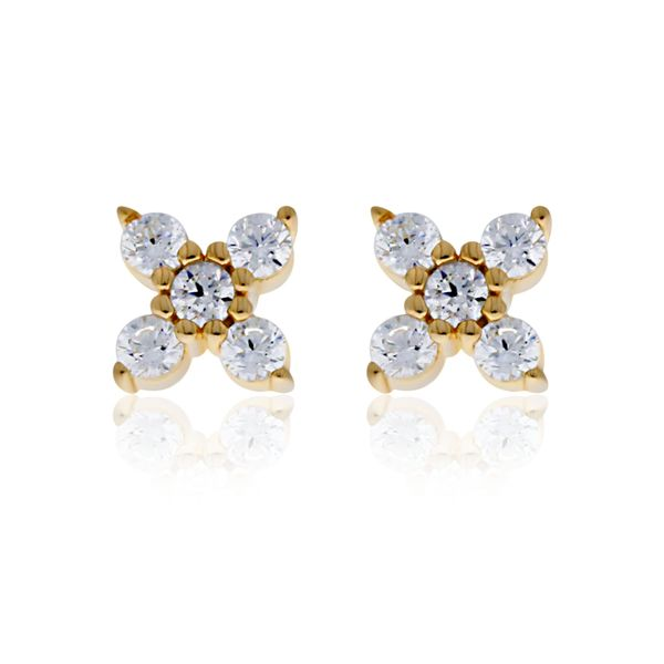 Yellow Gold Plated Cz Set 4 Petal Flower Studs Image 2 Georgies Fine Jewellery Narooma, New South Wales