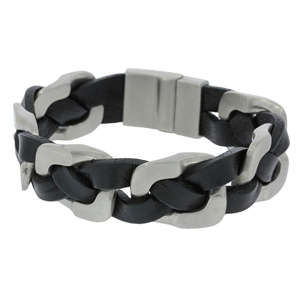 Wide Braided Black Leather Bracelet With Stainless Steel Clasp Georgies Fine Jewellery Narooma, New South Wales
