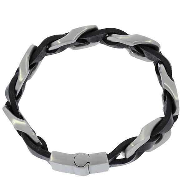Wide Braided Black Leather Bracelet With Stainless Steel Clasp Image 2 Georgies Fine Jewellery Narooma, New South Wales