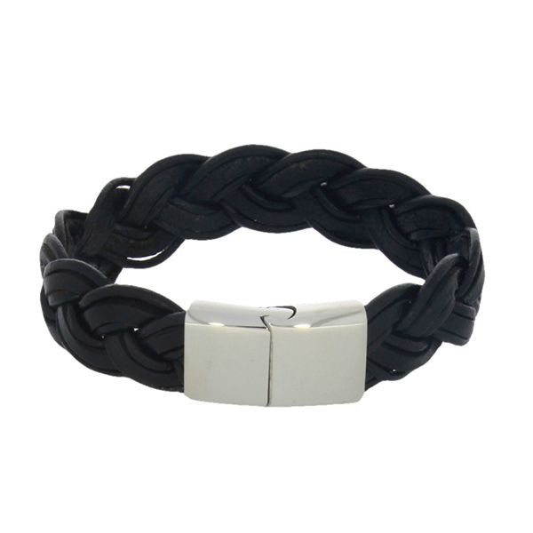 Black Leather Wide Plaited Bracelet Georgies Fine Jewellery Narooma, New South Wales
