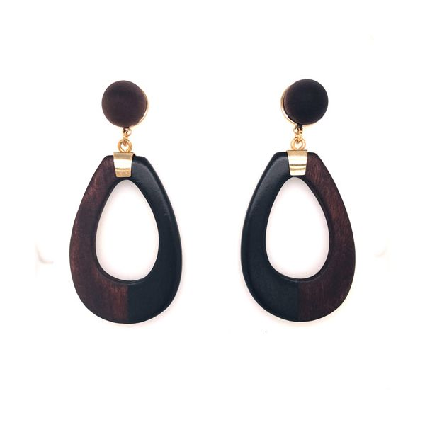 Onatah Black/Maroon Wooden Drop Earrings Georgies Fine Jewellery Narooma, New South Wales