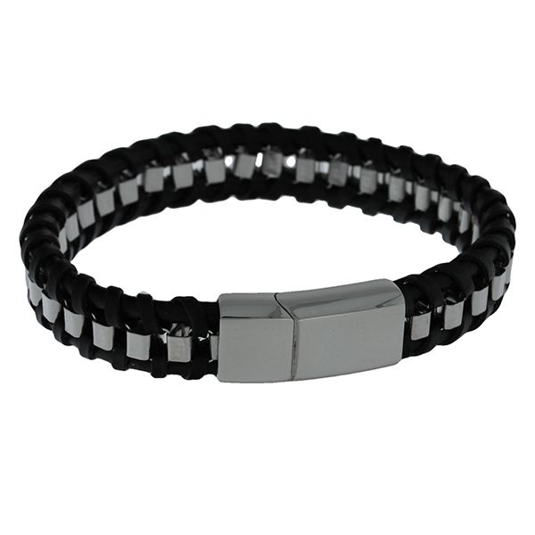 Black Leather Plaited Flat With Square Stainless Steel Chain Weave Bracelet Featuring Stainless Steel Magnetic Clasp. 20Cms Georgies Fine Jewellery Narooma, New South Wales