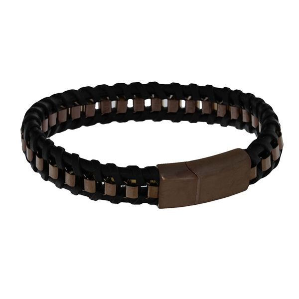 Black Leather Plaited Flat With Bronze Coloured Square Stainless Steel Chain Weave Bracelet Featuring Bronze Coloured Stainless  Georgies Fine Jewellery Narooma, New South Wales