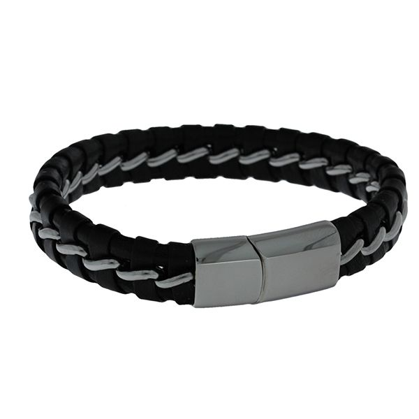 Black Leather Plaited With Stainless Steel Weave Bracelet Featuring Stainless Steel Magnetic Clasp. 21Cms Georgies Fine Jewellery Narooma, New South Wales