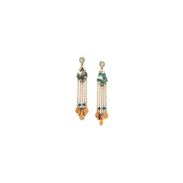 Franck Herval Elisa Yellow Gold Plated Paua Shell And 5 Chain Drop Stud Earrings Georgies Fine Jewellery Narooma, New South Wales