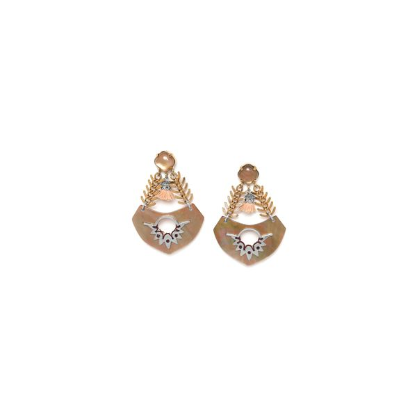 Franck Herval Mylene Yellow Gold Plated Drop Stud Earrings With Mother Of Pearl And Beige Stone Georgies Fine Jewellery Narooma, New South Wales