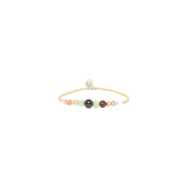 Franck Herval Mylene Yellow Gold Plated Strecth Bead Bracelet With Red, Green And Orange Beads With Dangle Georgies Fine Jewellery Narooma, New South Wales