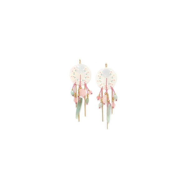Franck Herval Lucine Yellow Gold Plated Painted Mother Of Pearl Disc Stud Earrings With Multi Chain Dangles And Pastel Coloured  Georgies Fine Jewellery Narooma, New South Wales
