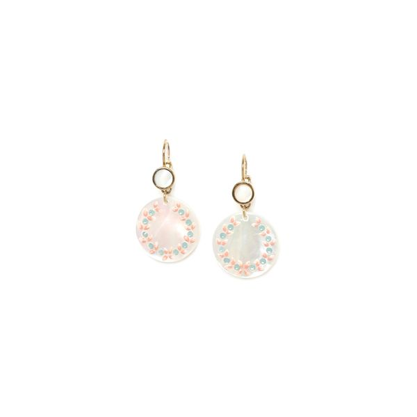 Franck Herval Lucine Yellow Gold Plated Painted Mother Of Pearl Disc Drop Earrings Georgies Fine Jewellery Narooma, New South Wales