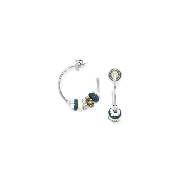 Franck Herval Les Radieuses Blue Creoles Silver Plated Hoop Stud Earrings With Blue/Greem And Crystal Beads Georgies Fine Jewellery Narooma, New South Wales