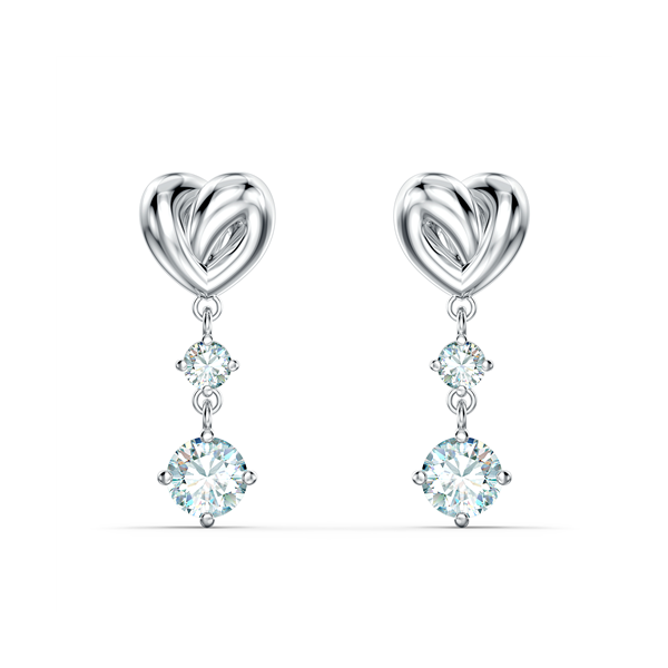 Swarovski Rhodium Plated Lifelong Heart Drop Earrings Georgies Fine Jewellery Narooma, New South Wales