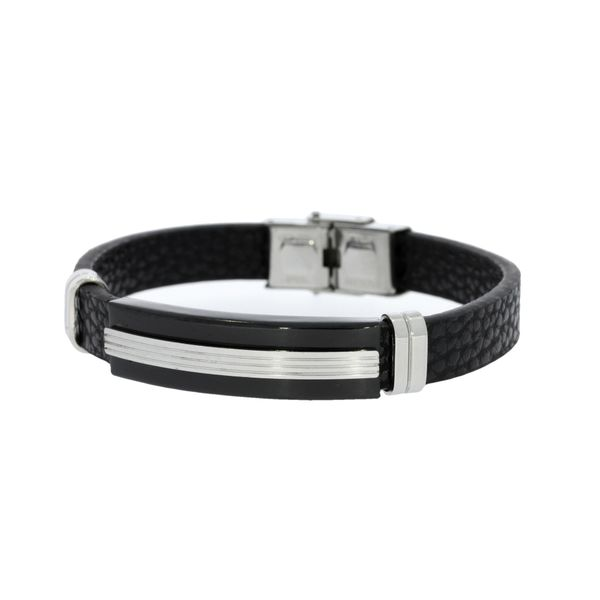 Stainless Steel Black Leather Bracelet With Black/Silver I.D Plate - 21Cm Georgies Fine Jewellery Narooma, New South Wales