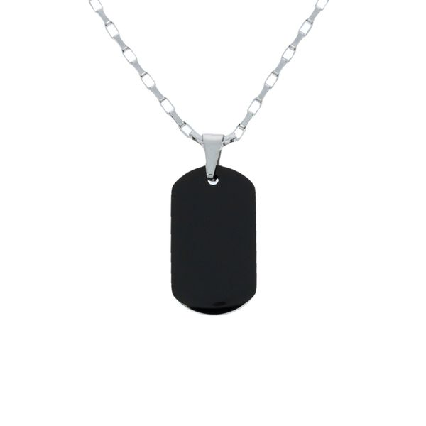 Stainless Steel Black Ion Plated Dog Tag Pendant With Stainless Steel Bail Image 2 Georgies Fine Jewellery Narooma, New South Wales
