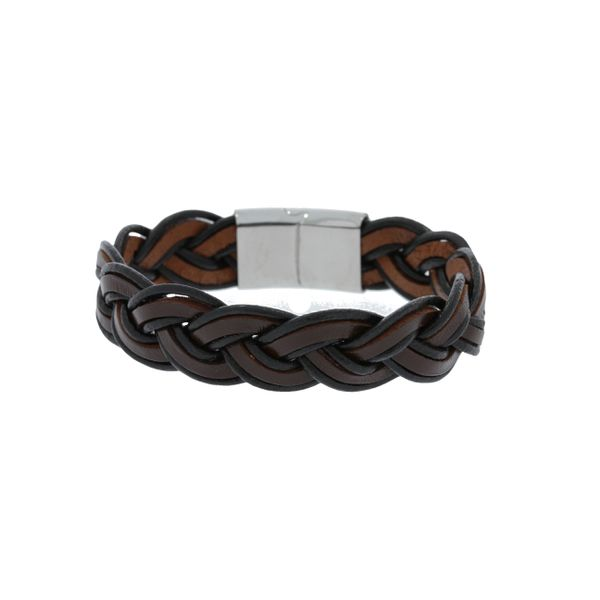 Black And Brown Leather Wide Plaited Bracelet With Stainless Steel Clasp Georgies Fine Jewellery Narooma, New South Wales
