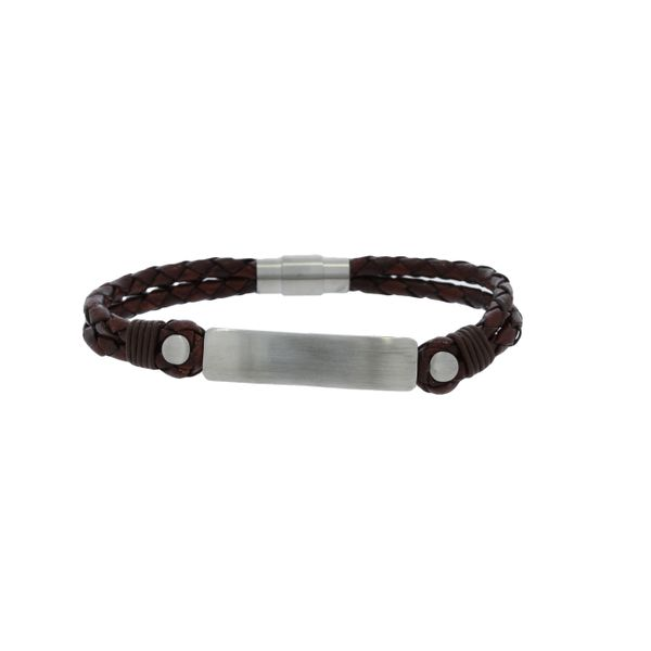 Plaited Leather Double Strand Bracelet With Brushed Stainless Steel Id Plate And Clasp - Brown Georgies Fine Jewellery Narooma, New South Wales