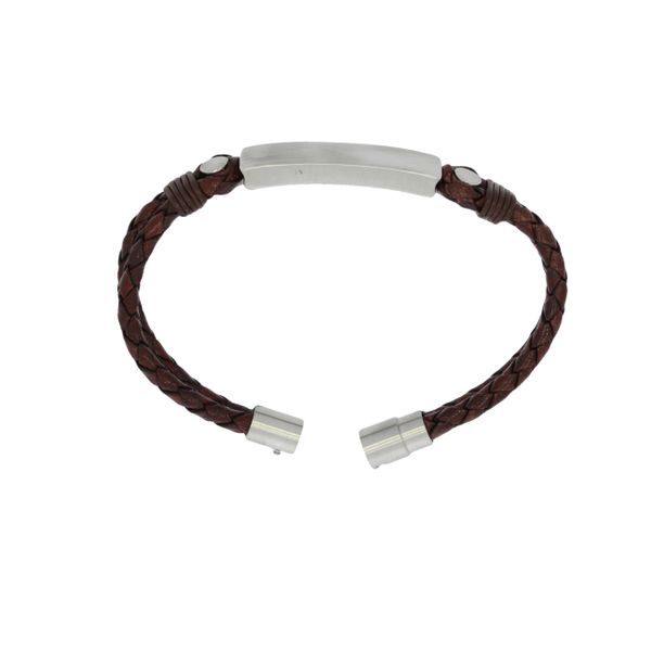 Plaited Leather Double Strand Bracelet With Brushed Stainless Steel Id Plate And Clasp - Brown Image 2 Georgies Fine Jewellery Narooma, New South Wales