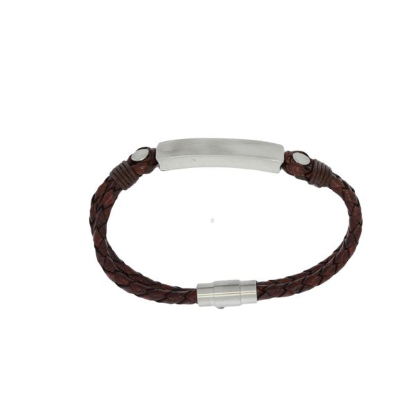 Plaited Leather Double Strand Bracelet With Brushed Stainless Steel Id Plate And Clasp - Brown Image 3 Georgies Fine Jewellery Narooma, New South Wales