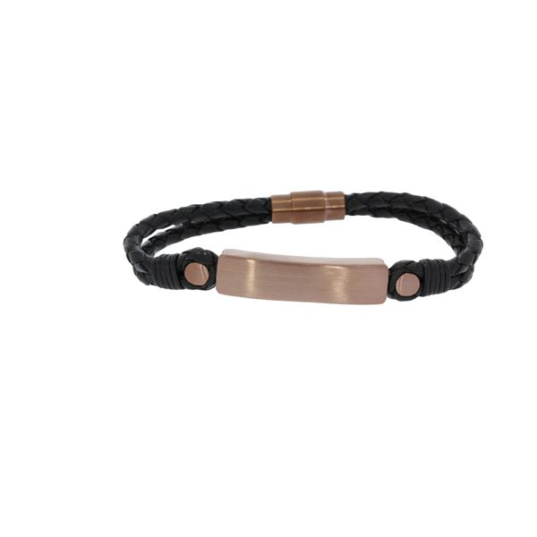 Plaited Leather Double Strand Bracelet With Brushed Finish Brass Id Plate And Clasp - Black Georgies Fine Jewellery Narooma, New South Wales