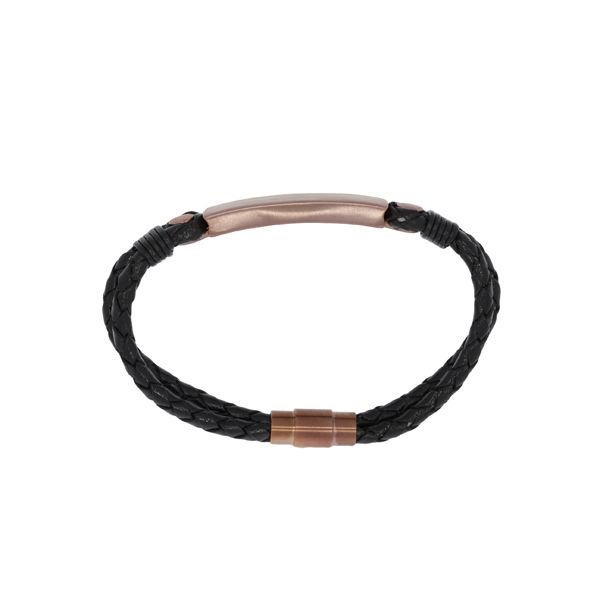 Plaited Leather Double Strand Bracelet With Brushed Finish Brass Id Plate And Clasp - Black Image 2 Georgies Fine Jewellery Narooma, New South Wales